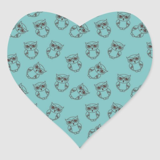cute owl outlines on blue heart sticker