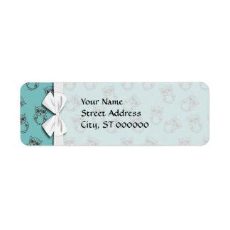 cute owl outlines on blue custom return address label