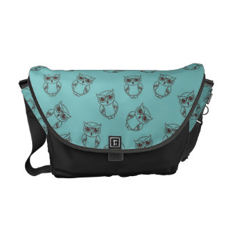 cute owl outlines on blue messenger bag