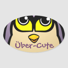 Cute Owl Oval Sticker