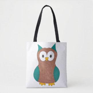 Cute Owl Owls Blue Brown Bird Print Birds Tote