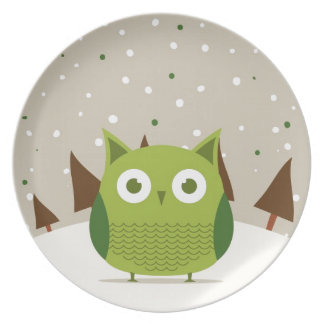Cute owl party plate