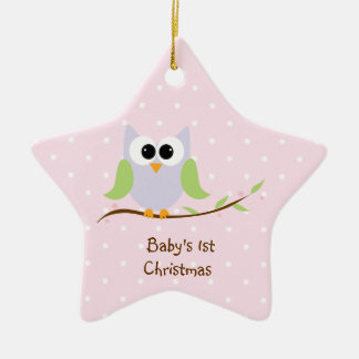 Cute Owl Pastel  Baby's 1st Christmas Ornament