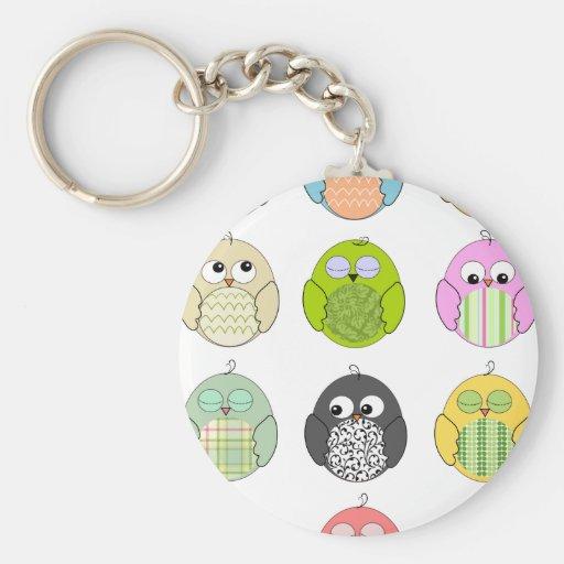 Cute Owl Pattern Basic Round Button Keychain