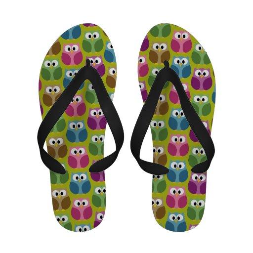 Cute Owl Pattern in bright colors Flip-Flops