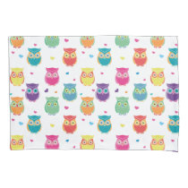 Cute Owl Pattern Kids Pretty Colorful Owls Pillow Case