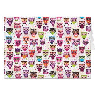 Cute owl pattern note card
