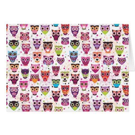 Cute owl pattern note card | Zazzle