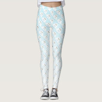 Cute owl pattern on pastel blue white ombre leggings
