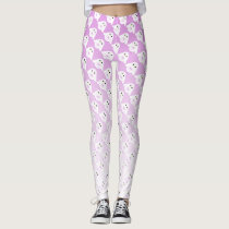 Cute owl pattern on pastel pink white ombre leggings