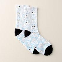 Cute owl pattern pastel blue white ombre pattern socks