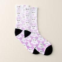 Cute owl pattern pastel pink white ombre pattern socks