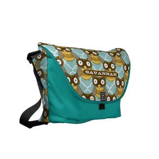 Cute Owl Pattern You Choose Colors Messenger Bag