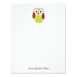 Cute Owl Personal Stationery 4.25x5.5 Paper Invitation Card