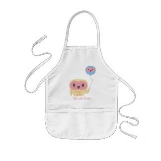 Cute Owl Personalized Kids Art Craft Apron