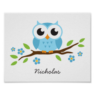 Cute owl personalized nursery wall art for boys