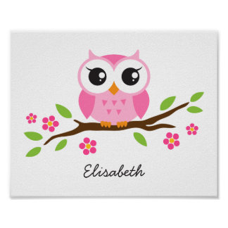 Cute owl personalized nursery wall art for girls