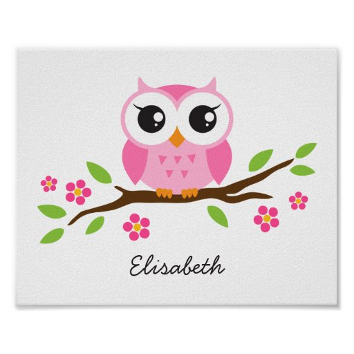 Cute owl personalized nursery wall art for girls posters