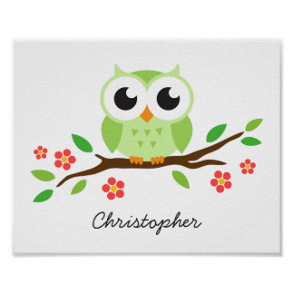 Cute owl personalized nursery wall art for kids