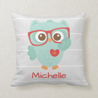 Cute Owl, Personalized w Name & Initial Throw Pillow