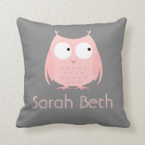 Cute Owl Pillow, Gray & Pink, Add Name Throw Pillow