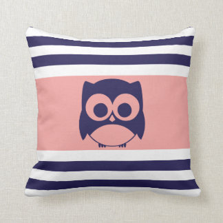 Cute Owl Pillow Navy Blue Coral