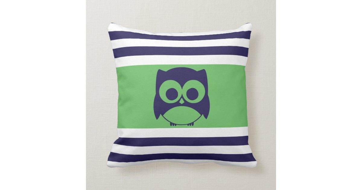 Cute Owl Pillow Navy Blue Green Zazzle