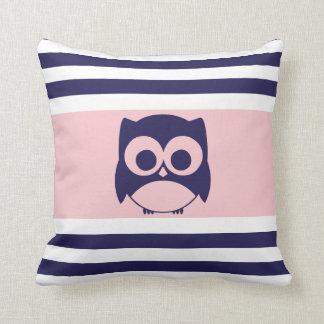 Cute Owl Pillow | Navy Blue Light Pink
