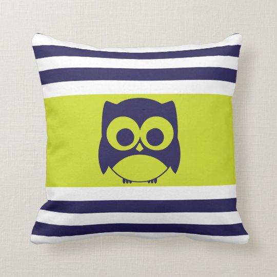 Cute Owl Pillow Navy Blue Lime Green Zazzle Com