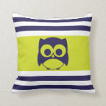 Cute Owl Pillow | Navy Blue Lime Green