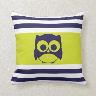 Cute Owl Pillow Navy Blue Lime Green