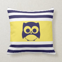 Cute Owl Pillow | Navy Blue Yellow