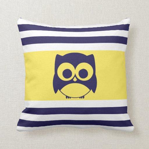 Cute Owl Pillow   Navy Blue Yellow