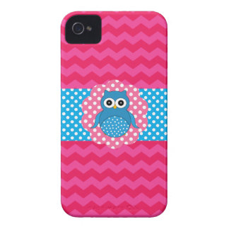 Cute owl pink chevrons iPhone 4 covers