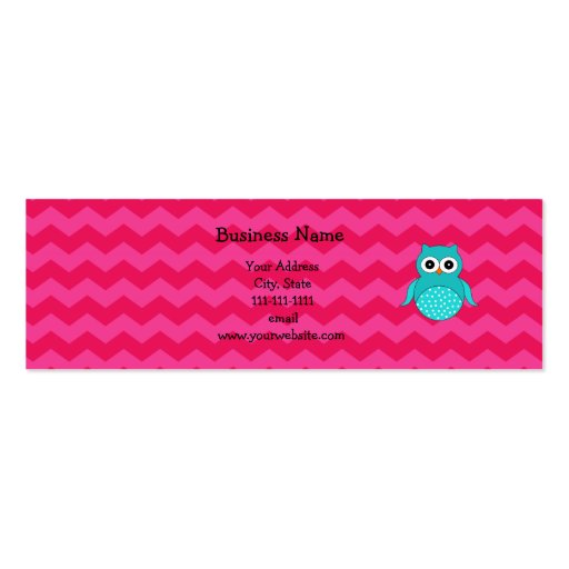 Cute owl pink chevrons Double-Sided mini business cards (Pack of 20)