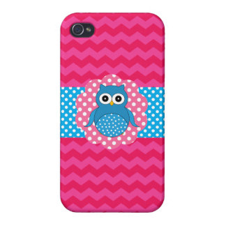 Cute owl pink chevrons iPhone 4/4S case