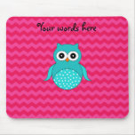 Cute owl pink chevrons mouse pad