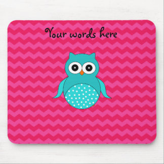 Cute owl pink chevrons mouse pads