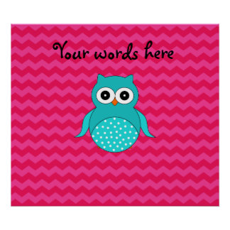Cute owl pink chevrons poster