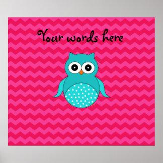 Cute owl pink chevrons print
