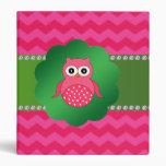 Cute owl pink chevrons vinyl binders