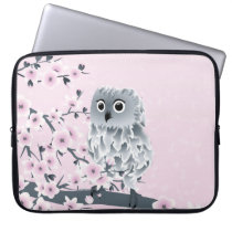 Cute Owl Pink Gray Laptop Sleeve