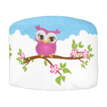 Cute Owl Pink on a Branch Monogram Round Pouf