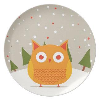 Cute owl plate