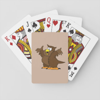 Cute owl playing cards