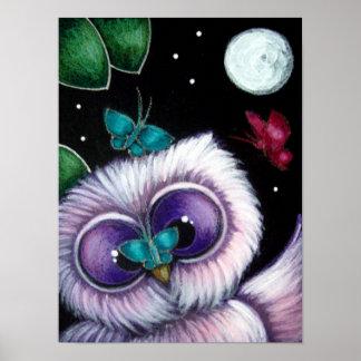 "CUTE OWL PLAYING W BUTTERFLIES 12"" X 16"" Poster"