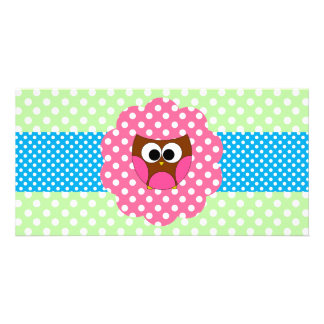 Cute owl polka dots picture card