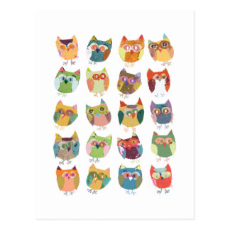 cute Owl post card, colourful owls, owl lovers. Postcard