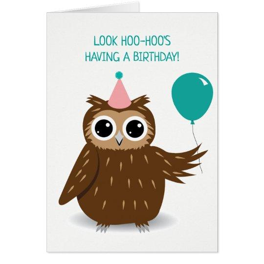 Cute Owl Pun Birthday Greeting Card Zazzle Com