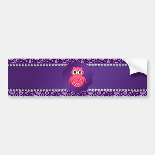 Cute owl purple flowers car bumper sticker